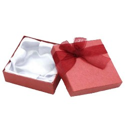 Gift Box Red with Bow 9x9x3cm