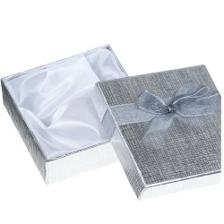 Gift Box Silver with Bow 9x9x3cm