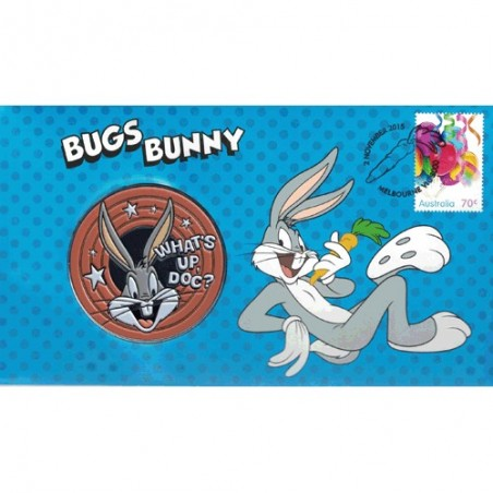 2015 Looney Tunes Bugs Bunny Medallion & Stamp Cover PNC