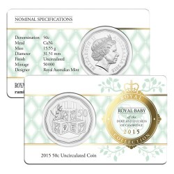 2015 50c Royal Baby Princess Charlotte Uncirrculated Coin in Card