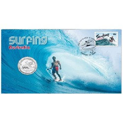 2013 50c Surfing Coin & Stamp Cover PNC