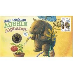 2016 $1 Fair Dinkum Aussie Alphabet Part One W Coin & Stamp Cover PNC