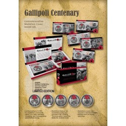 2015 Gallipoli Centenary Commemorative Medallion Cover Boxed Set 5 PNCS