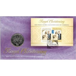 2013 50c Royal Christening Coin & Stamp Cover PNC