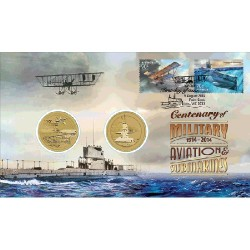 2014 $1 Centenary of Military Aviation & Submarines 2 Coin & Stamp Cover PNC