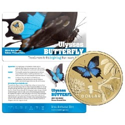 2014 $1 Bright Bugs Series - Ulysses Butterfly  Unc Coin in Card