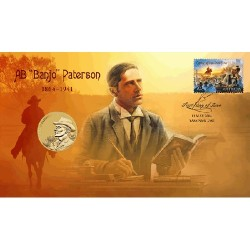 2014 $1 150th Anniversary of A.B. Banjo Paterson Coin & Stamp Cover PNC