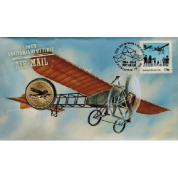 2014 $1 100th Anniversary First Airmal Coin & Stamp Cover PNC