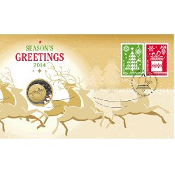 2014 $1 Christmas Coin & Stamp Cover PNC