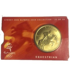2000 $5 Sydney Olympic Games Equestrian Unc Coin in Card