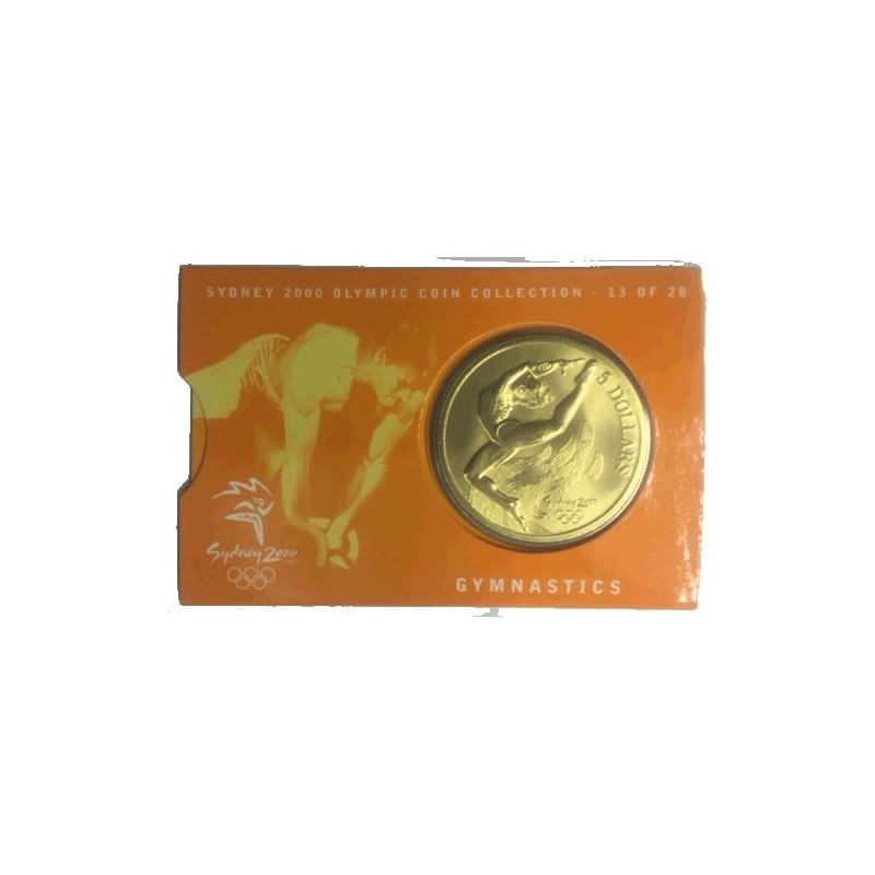 2000 $5 Sydney Olympic Games Gymnastics Unc Coin in Card