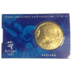 2000 $5 Sydney Olympic Games Sailing Unc Coin in Card