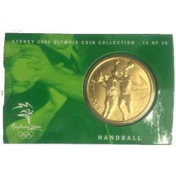 2000 $5 Sydney Olympic Games Handball Unc Coin in Card