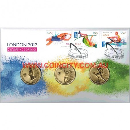 2012 $1 London Olympics Coin & Stamp Cover PNC