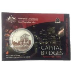 2011 $1 ANDA Capital Bridges - Pyrmont Bridge Sydney 1oz Frosted Uncirculated Coin