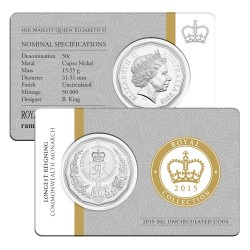 2015 50c Longest Reigning Monarch Uncirculated Coin in Card