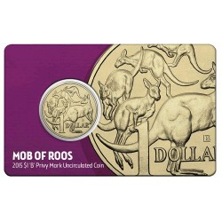 2015 $1 Mob of Roos B Privy Mark Brisbane  ANDA Show Coin in Card