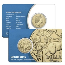 2015 $1 Mob of Roos M Privy Mark Melbourne ANDA Show Coin in Card
