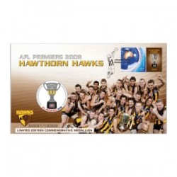 2008 AFL Premiers Hawthorn Hawks Limited Edition Medallion & Stamp Cover PNC