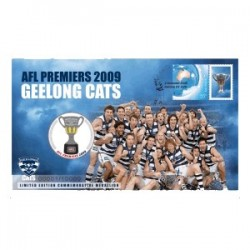 2009 AFL Premiers Geelong Cats Limited Edition Medallion & Stamp Cover PNC