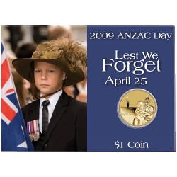 2009 $1 ANZAC Day Unc Coin in Card