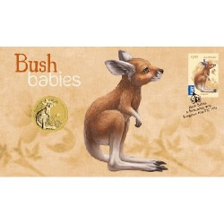 2011 $1 Bush Babies Kangarooo Coin & Stamp Cover PNC