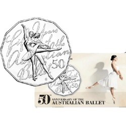 2012 50c 50th Anniversary of Australian Ballet Unc Coin in Card