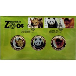 2012 Australian Zoos - 3 Medallion & Stamp Cover PNC