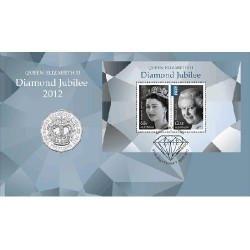 2012 50c Queens Jubilee Coin & Stamp Cover PNC