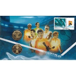 2012 $1 Australian Open 2 Coin & Stamp Cover PNC