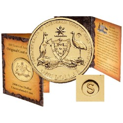 2008 $1 Australia's Coat of Arms S Counterstamp Coin in Card