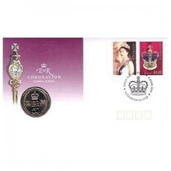 2003 50c Queens Coronation Coin & Stamp Cover PNC